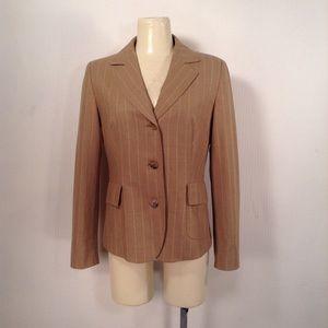 Max Mara Brown Pinstriped Blazer Size 10